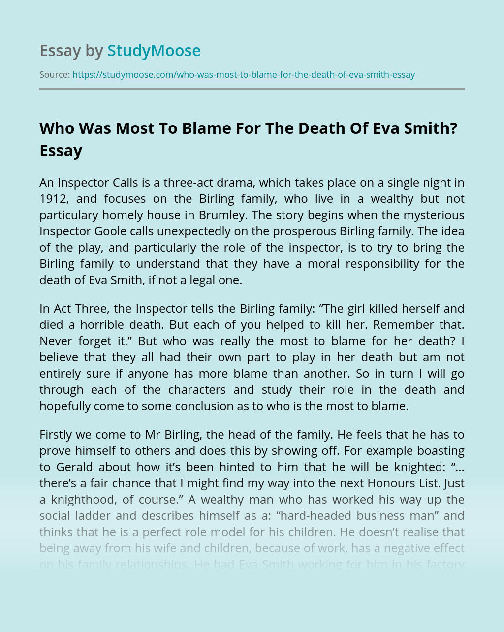 Who Was Most To Blame For The Death Of Eva Smith?