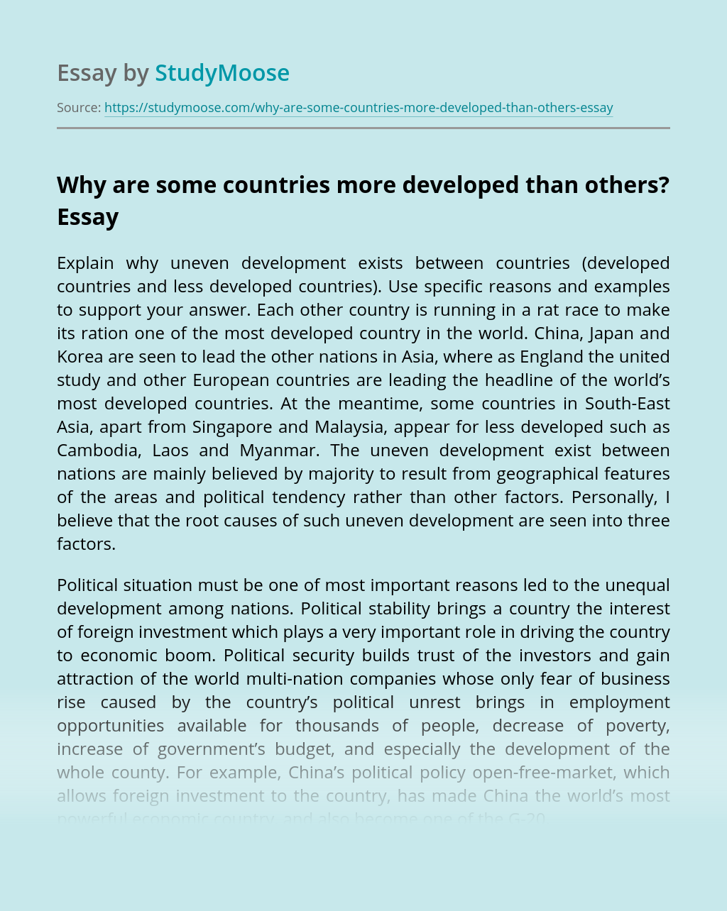 Why are some countries more developed than others?