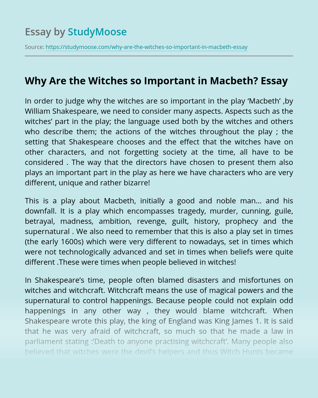 Why Are the Witches so Important in Macbeth?