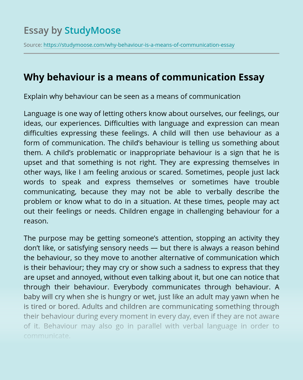 Why behaviour is a means of communication