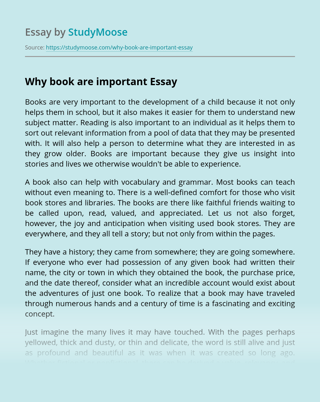 Why book are important