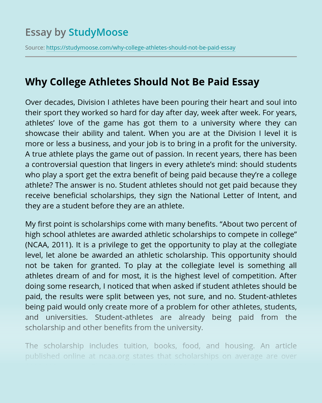 Why College Athletes Should Not Be Paid