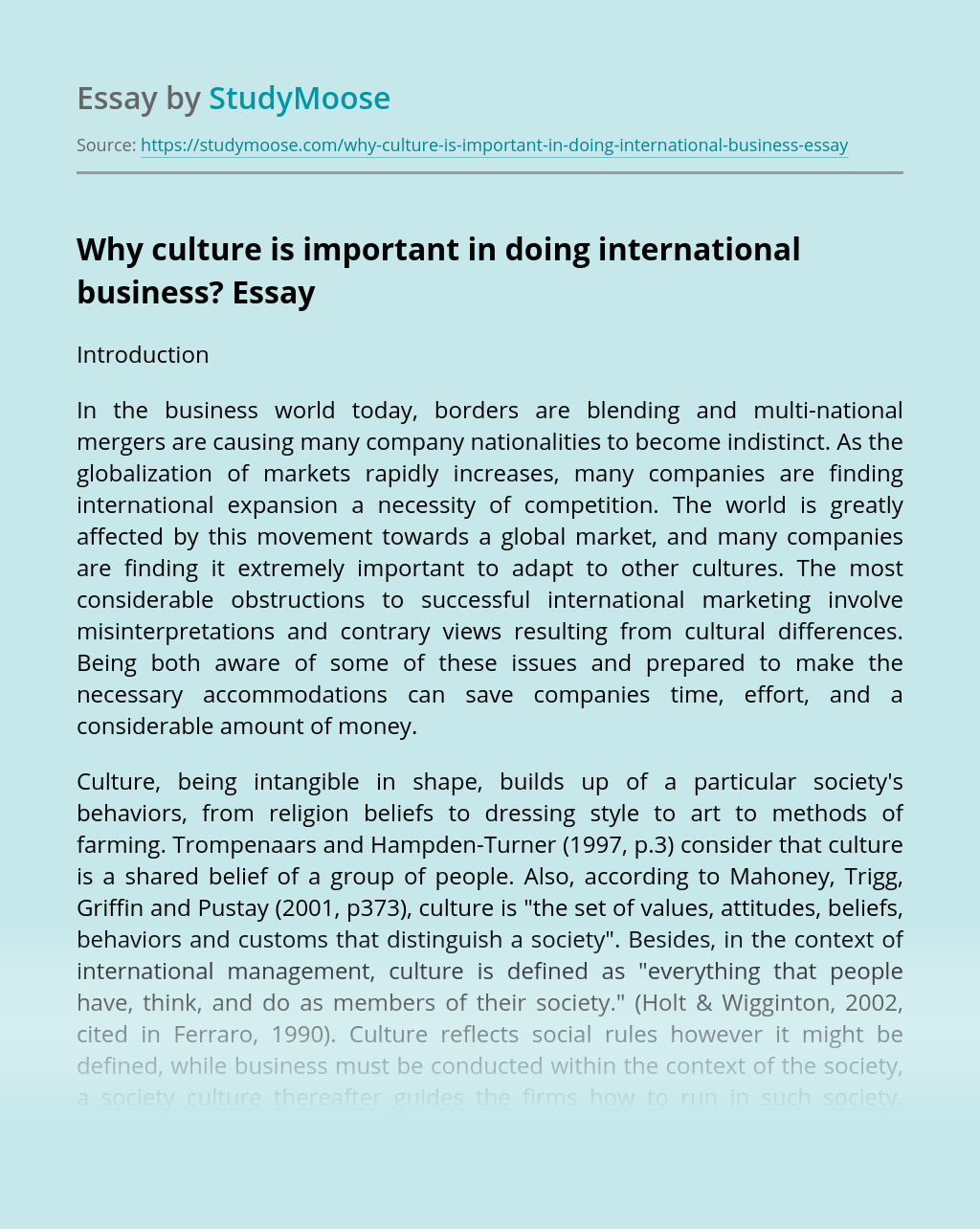Why culture is important in doing international business?