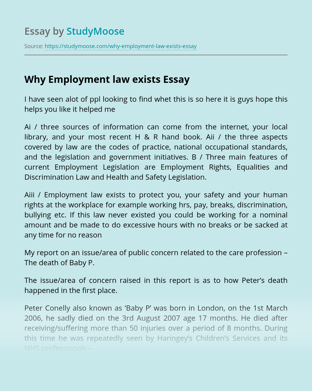 Why Employment law exists