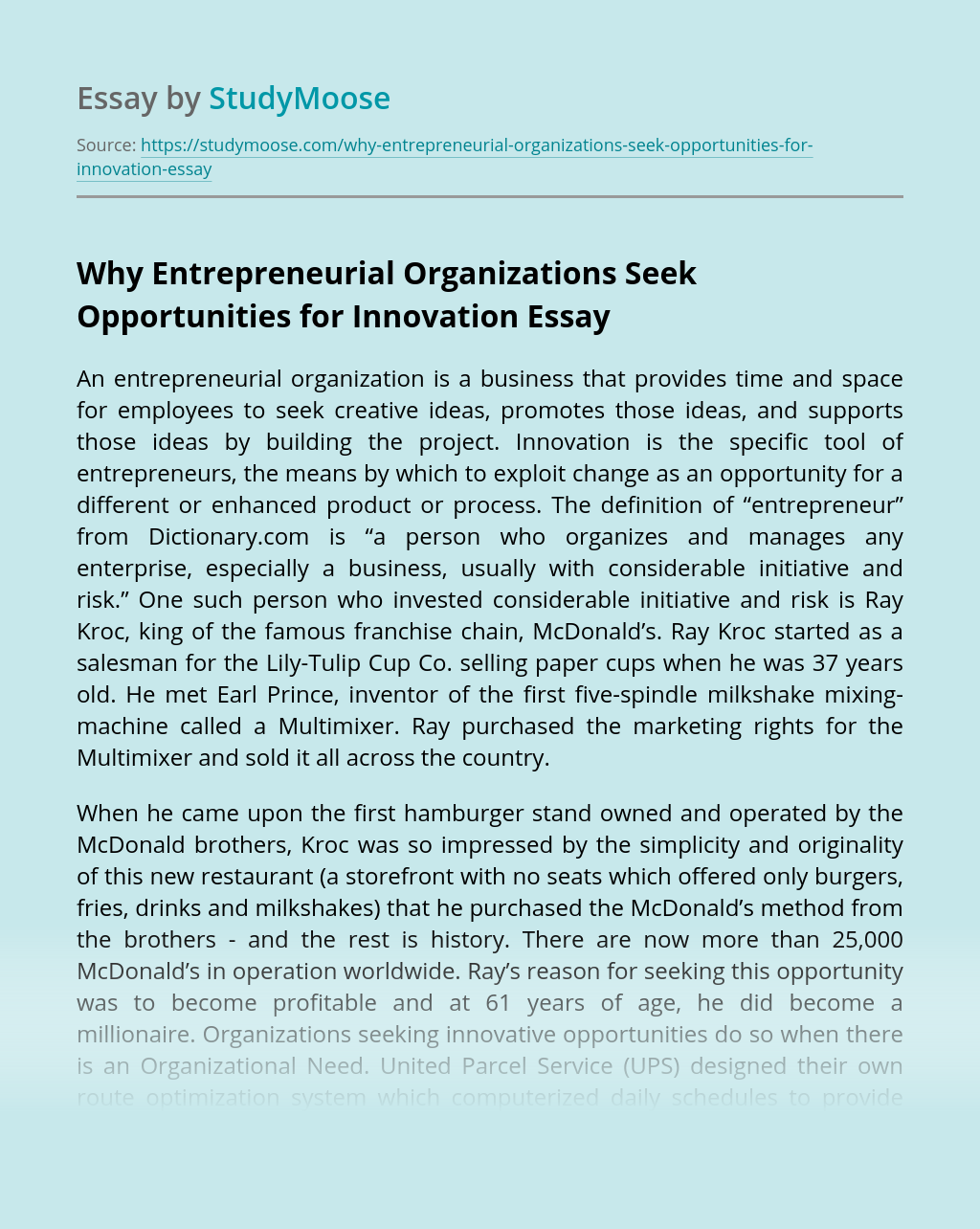 Why Entrepreneurial Organizations Seek Opportunities for Innovation