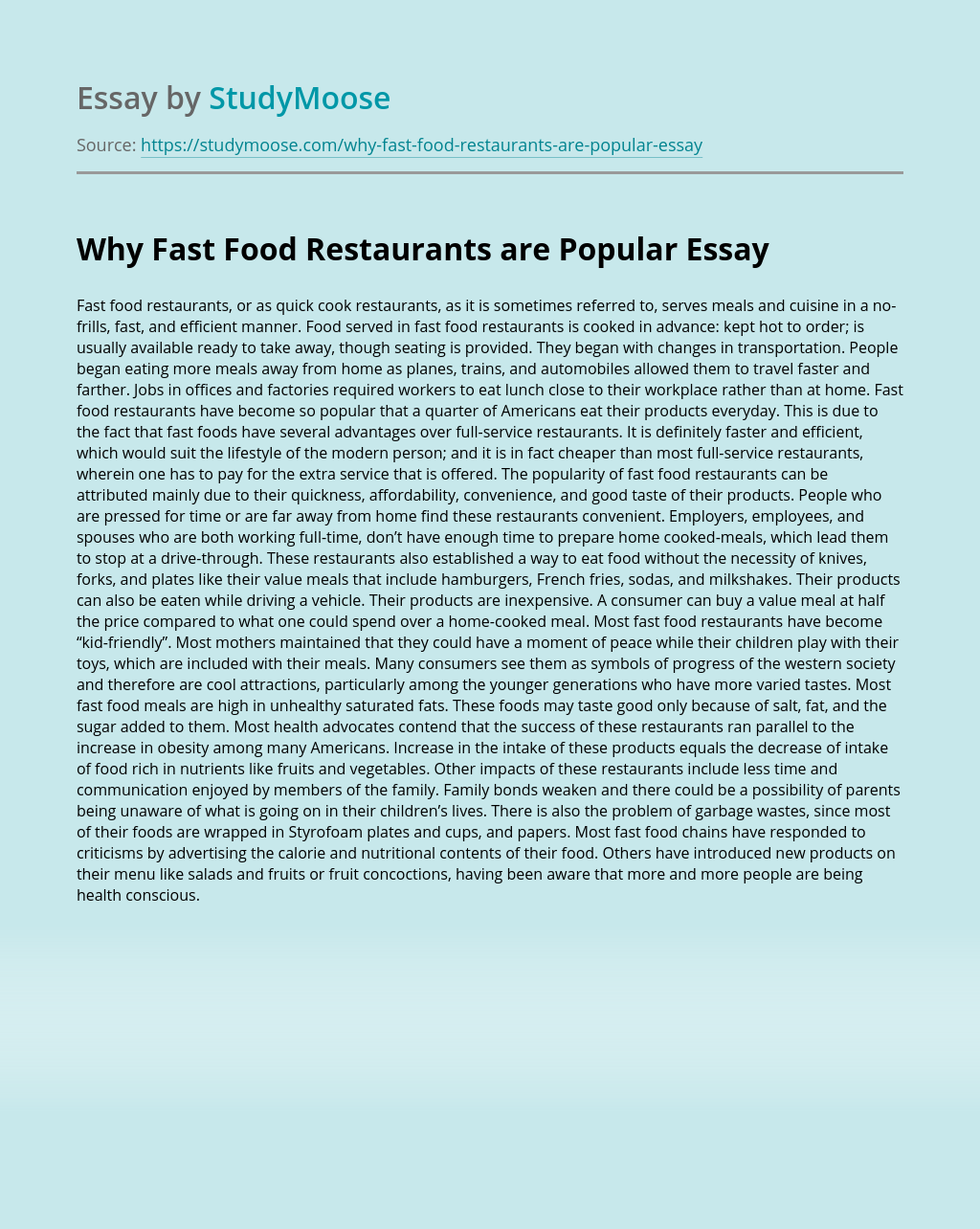 Why Fast Food Restaurants are Popular
