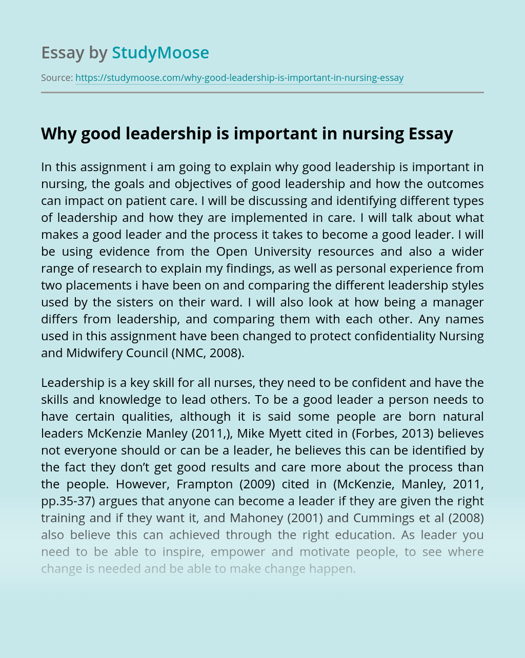Why good leadership is important in nursing
