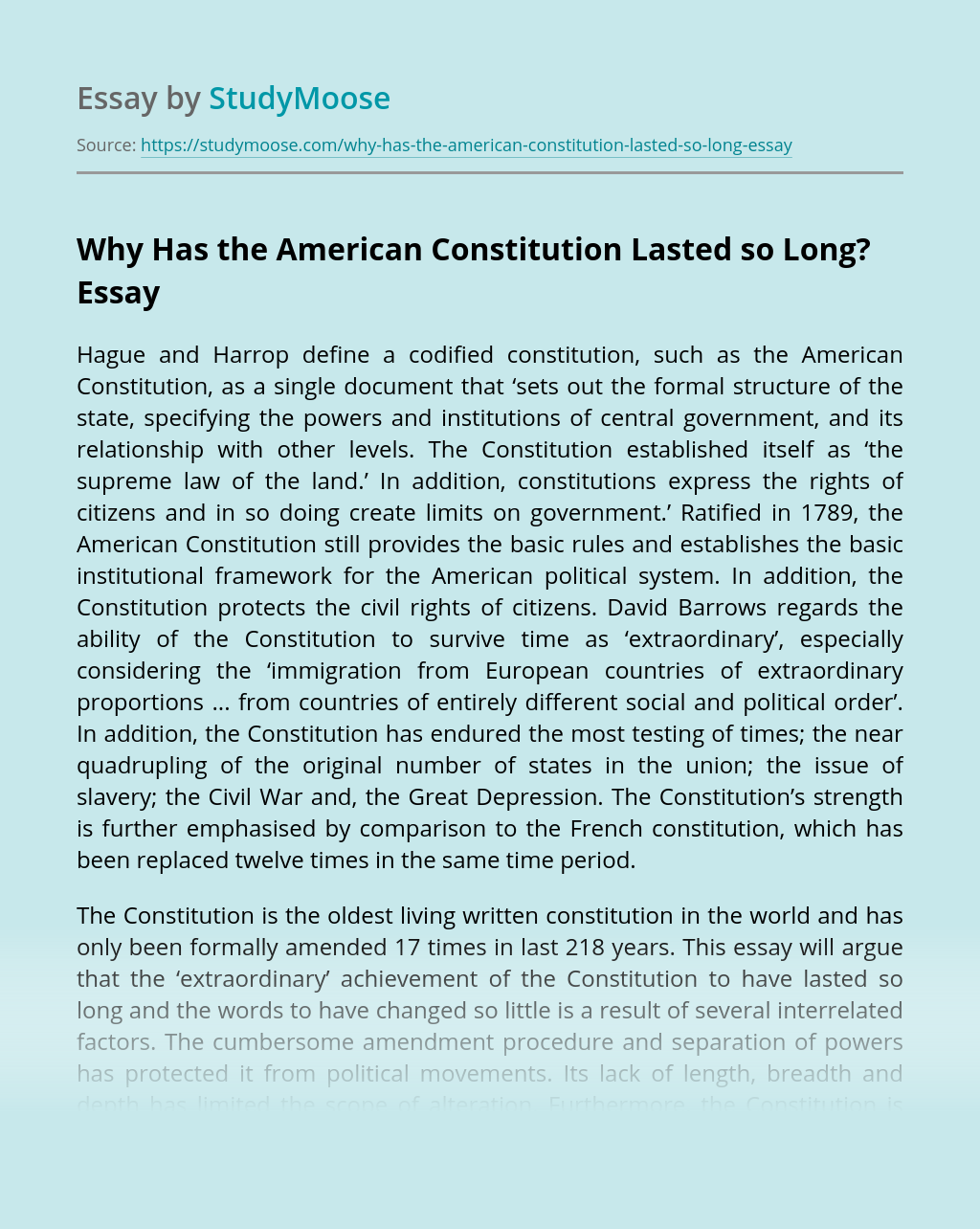 Why Has the American Constitution Lasted so Long?