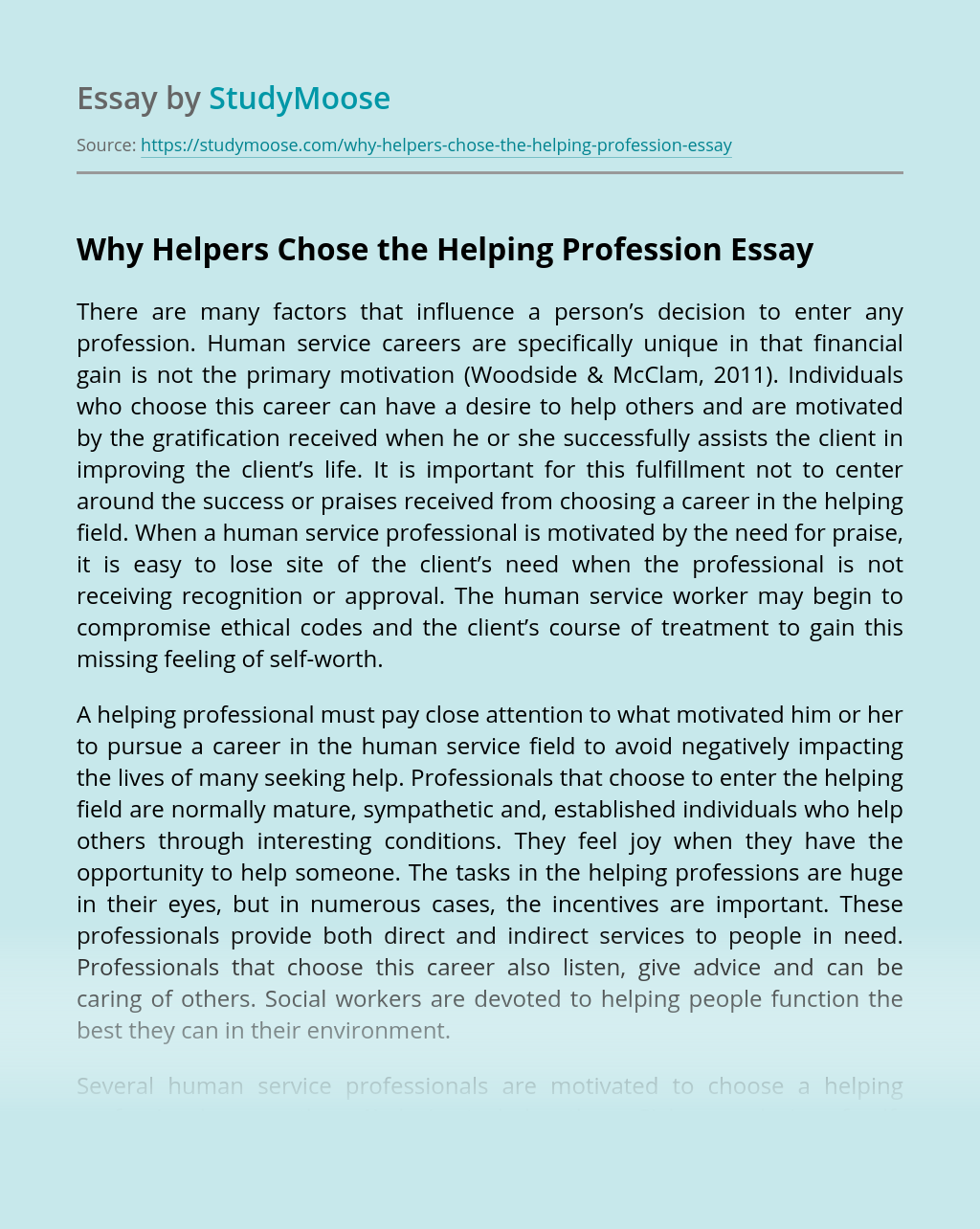 Why Helpers Chose the Helping Profession