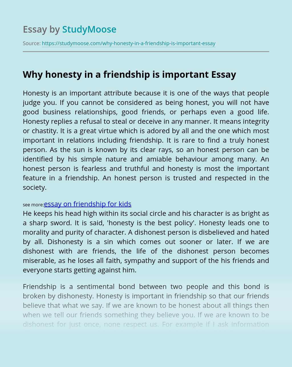 Why honesty in a friendship is important