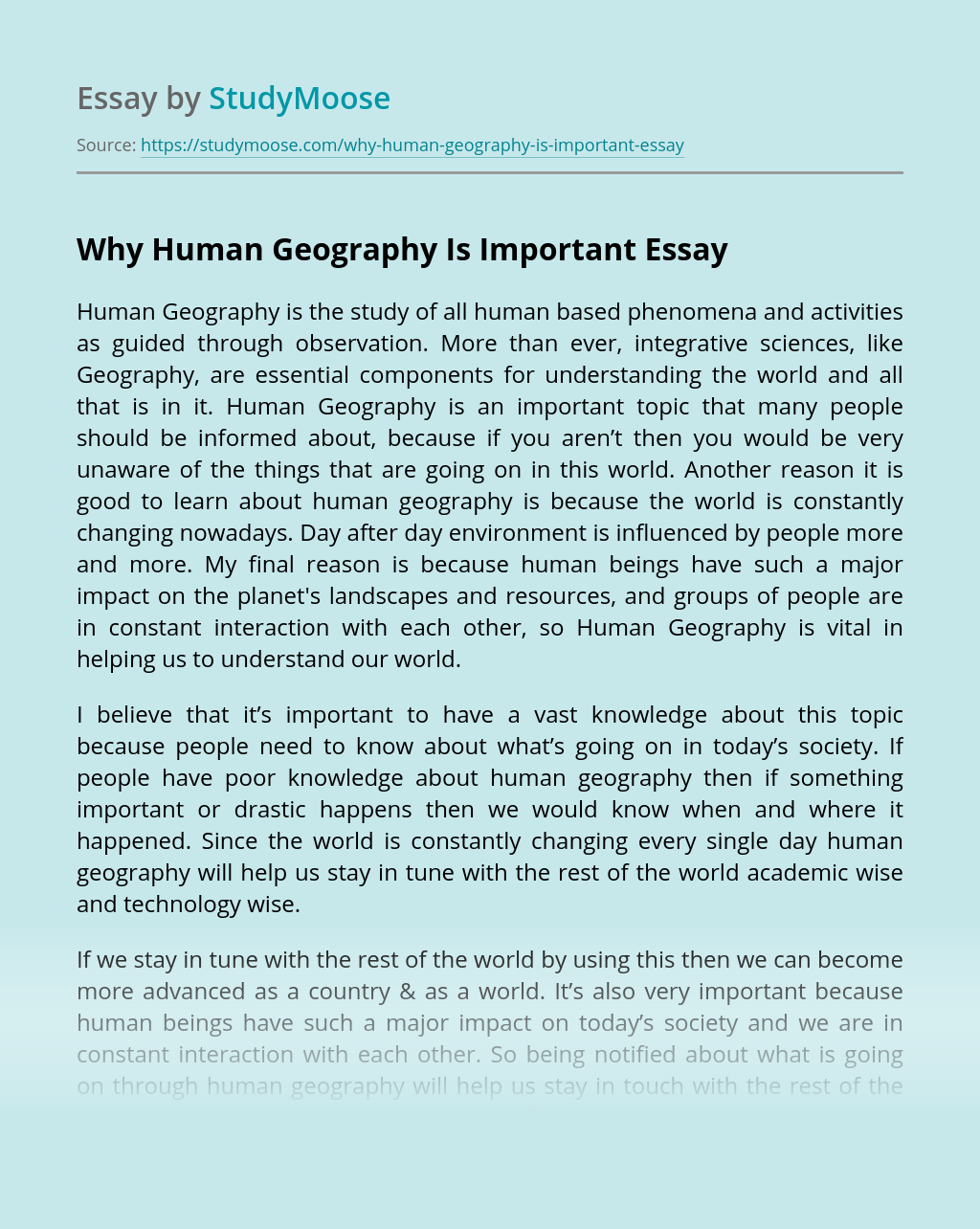 Why Human Geography Is Important