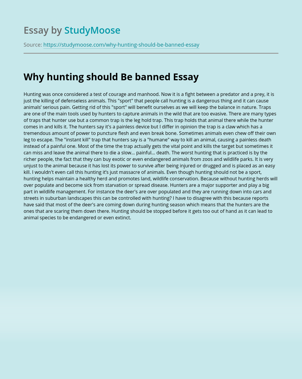 Why hunting should Be banned