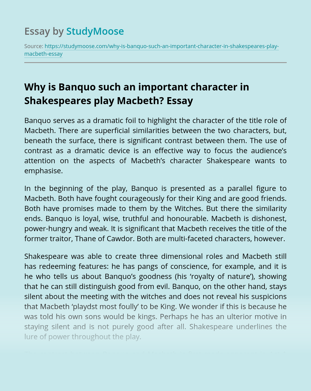Why is Banquo such an important character in Shakespeares play Macbeth?