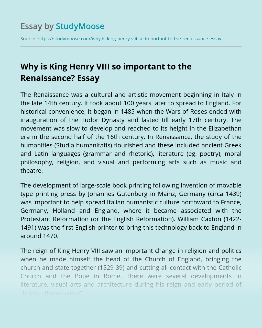 Why is King Henry VIII so important to the Renaissance?