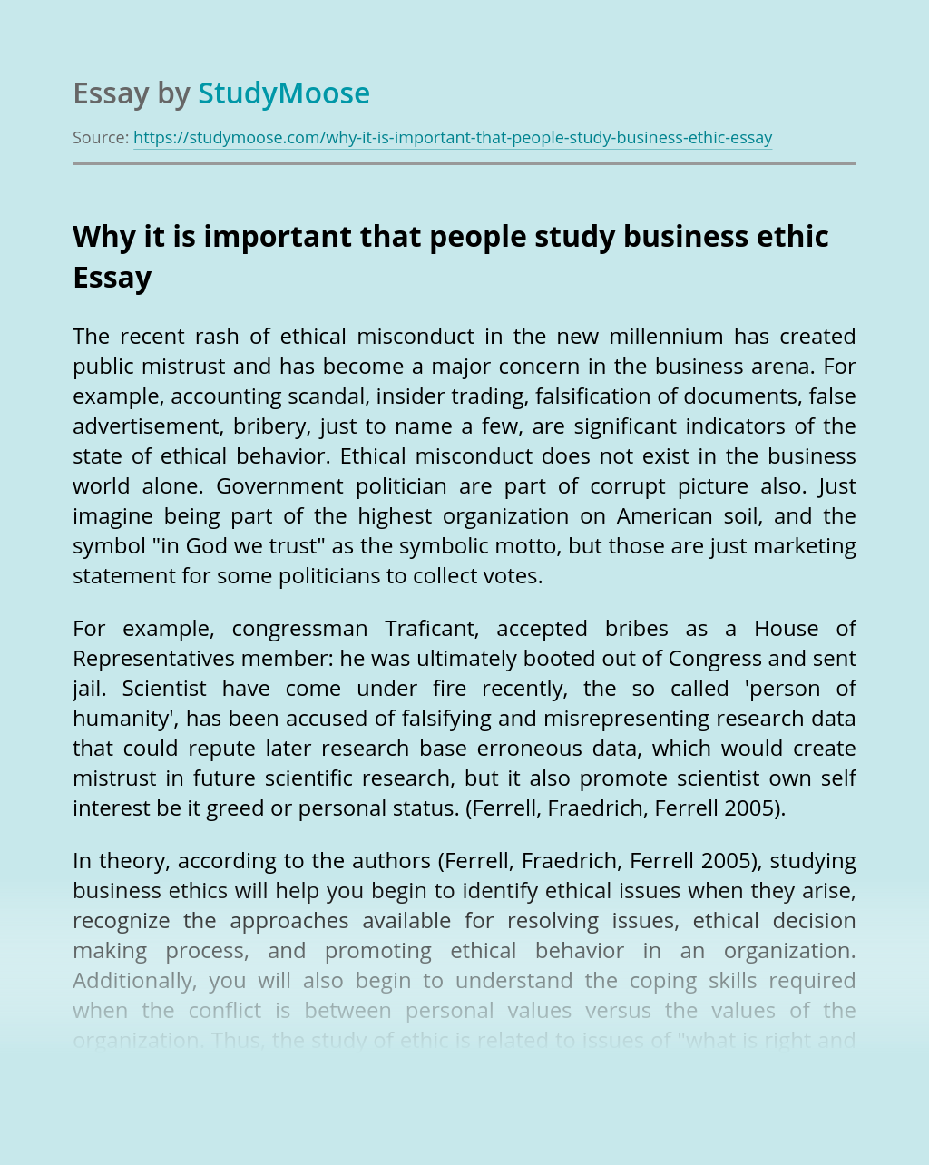 Why it is important that people study business ethic