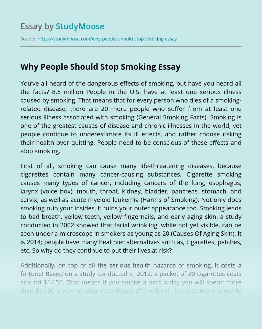 Why People Should Stop Smoking