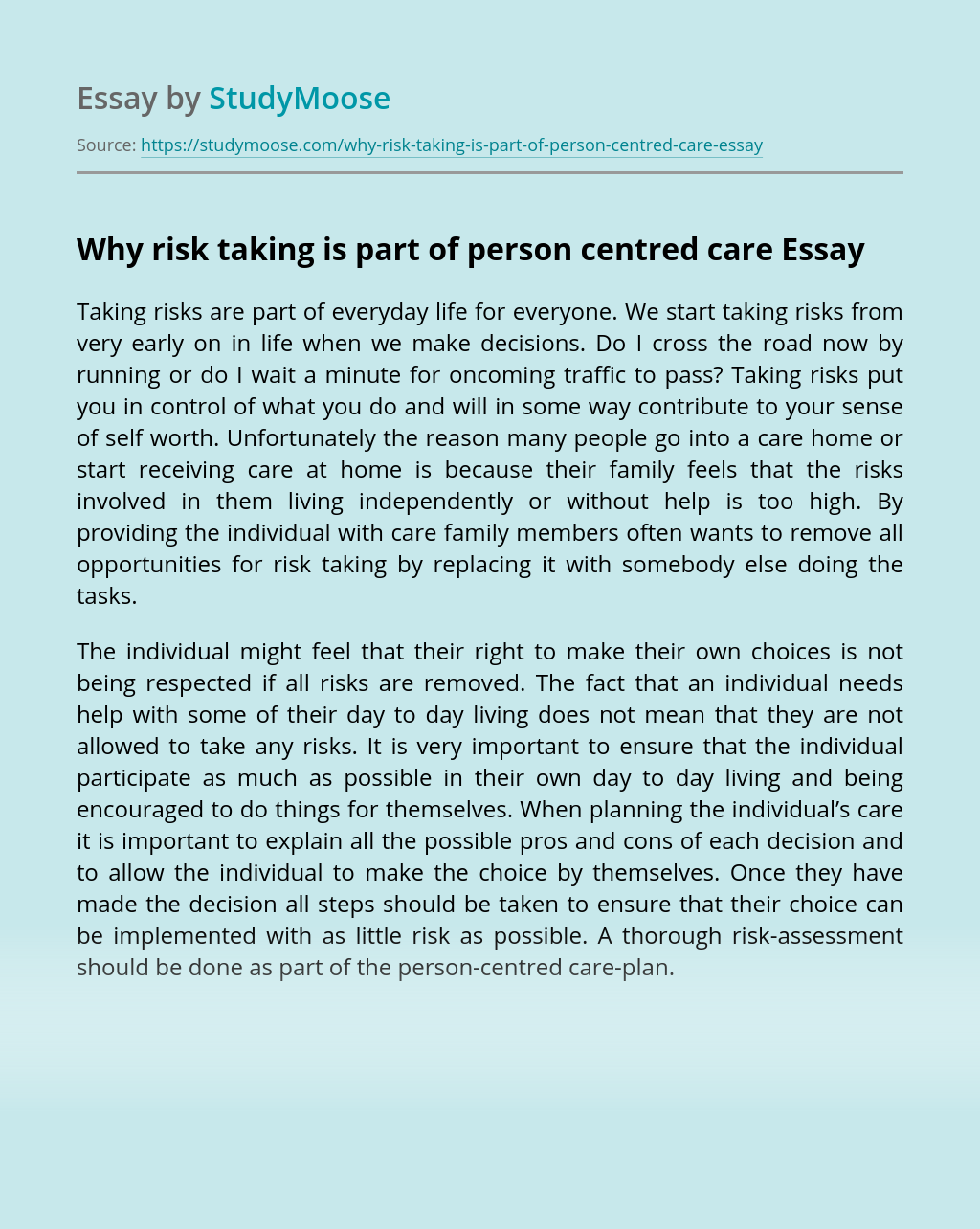 Why risk taking is part of person centred care