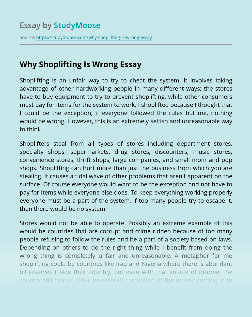 Why stealing is wrong essay