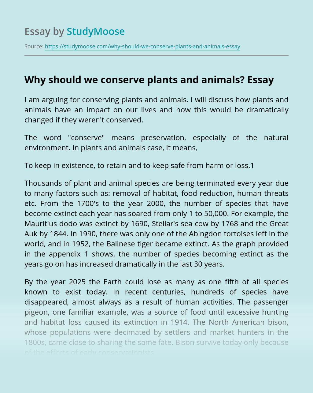Why should we conserve plants and animals?