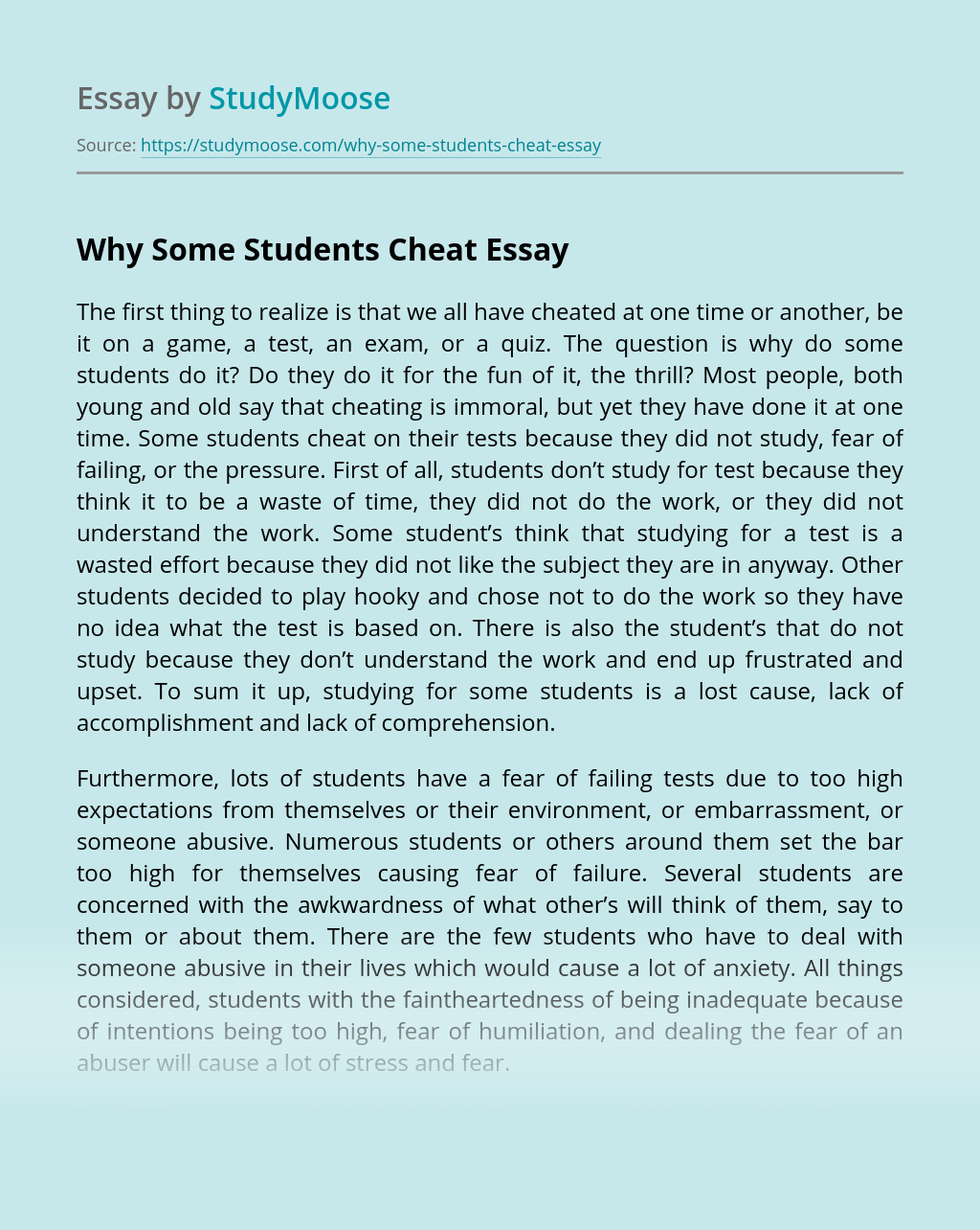 Why Some Students Cheat
