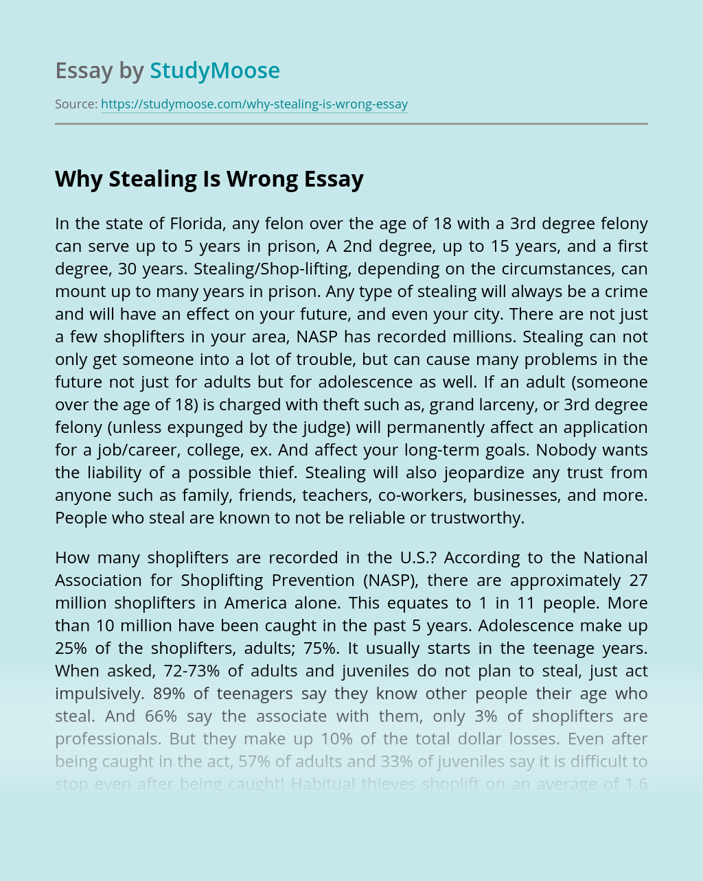 Why Stealing Is Wrong
