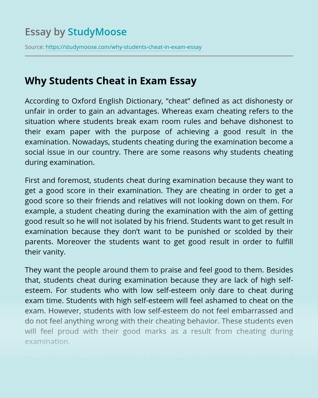 Why Students Cheat in Exam