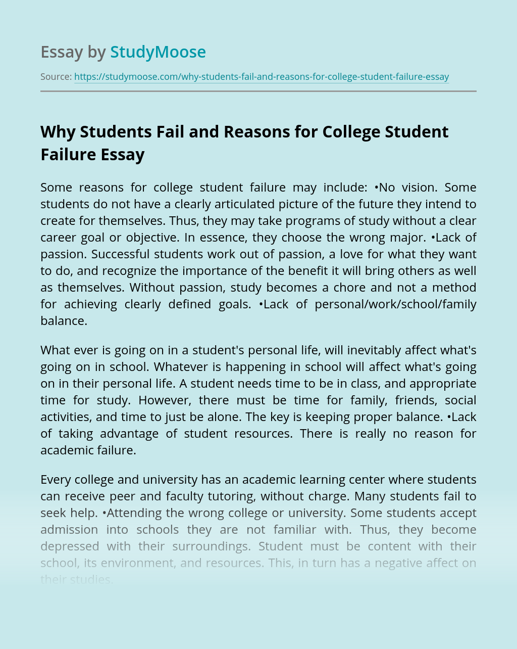 Why Students Fail and Reasons for College Student Failure