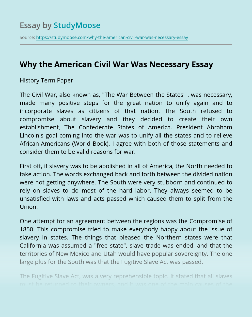 American Civil War Essay