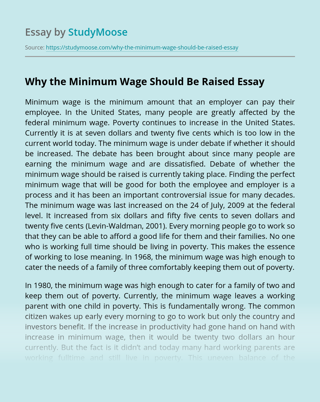 Why the Minimum Wage Should Be Raised
