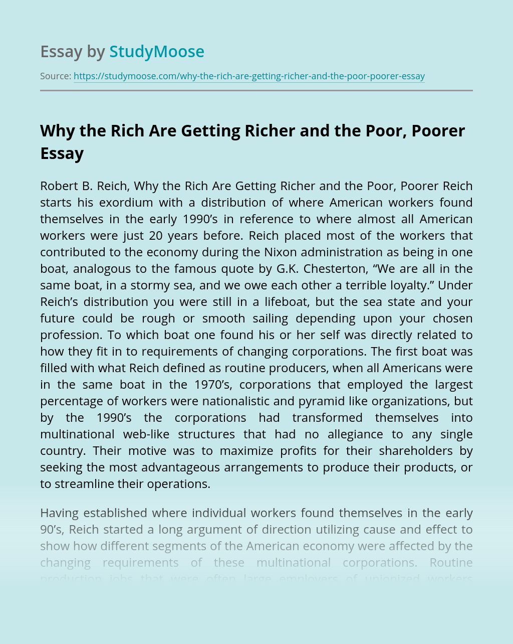 Why the Rich Are Getting Richer and the Poor, Poorer