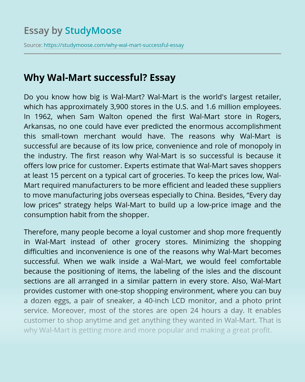 Why Wal-Mart successful?