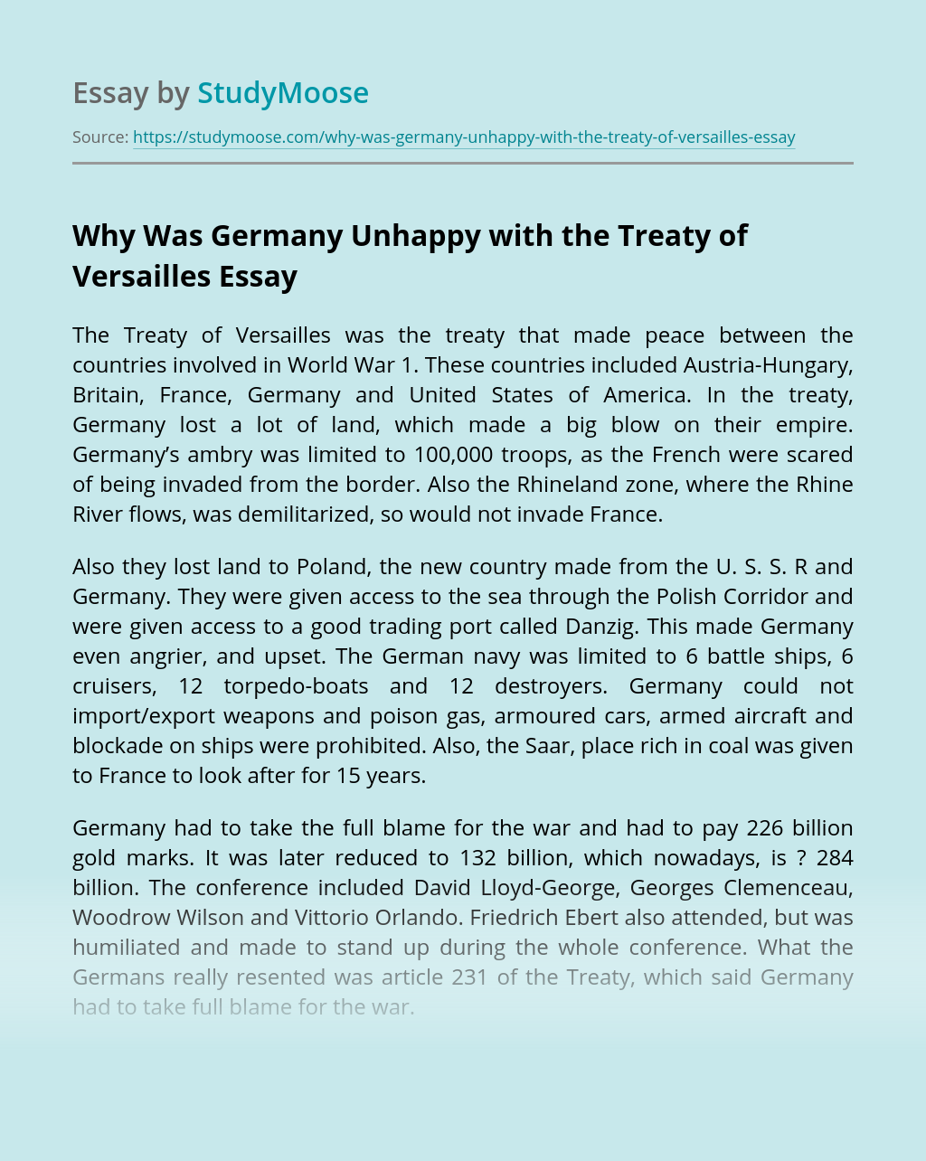 Why Was Germany Unhappy with the Treaty of Versailles
