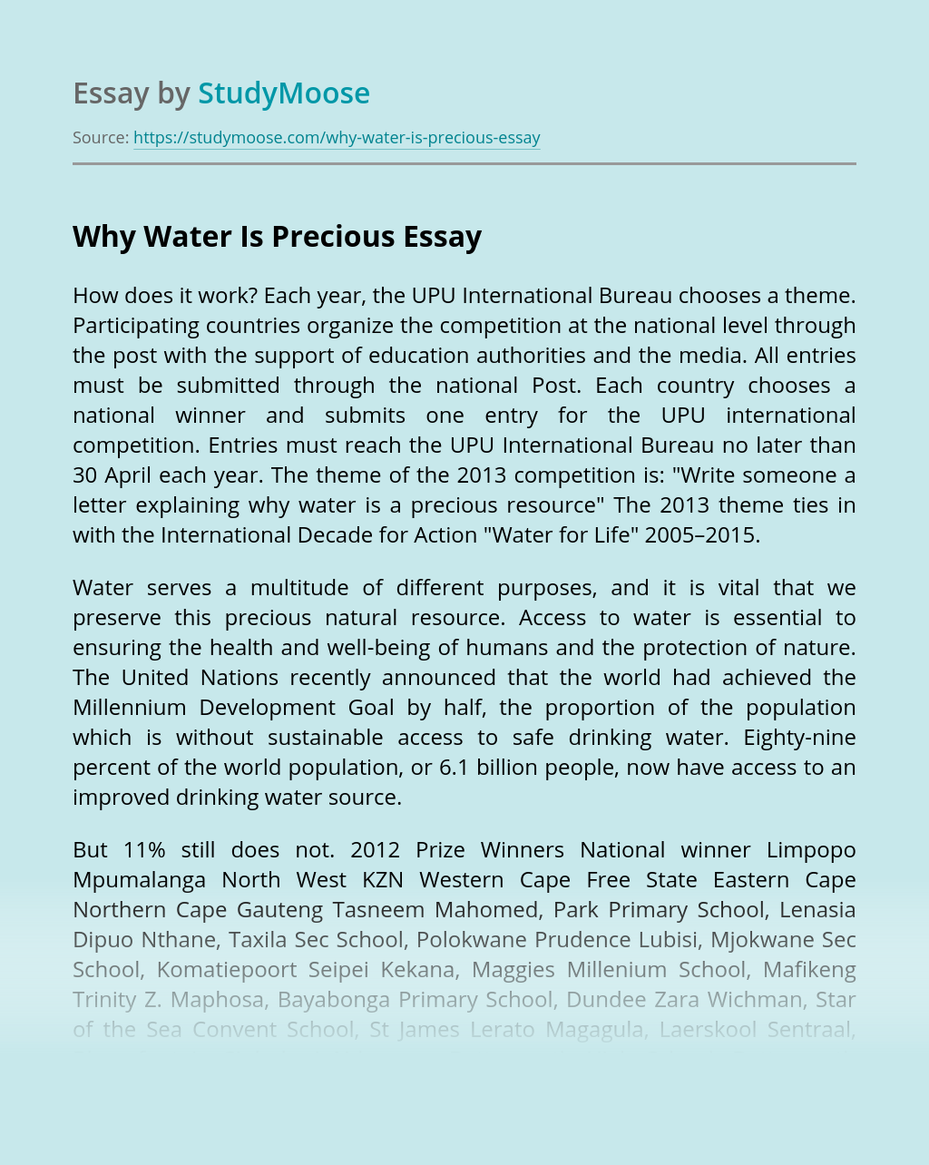 Why Water Is Precious