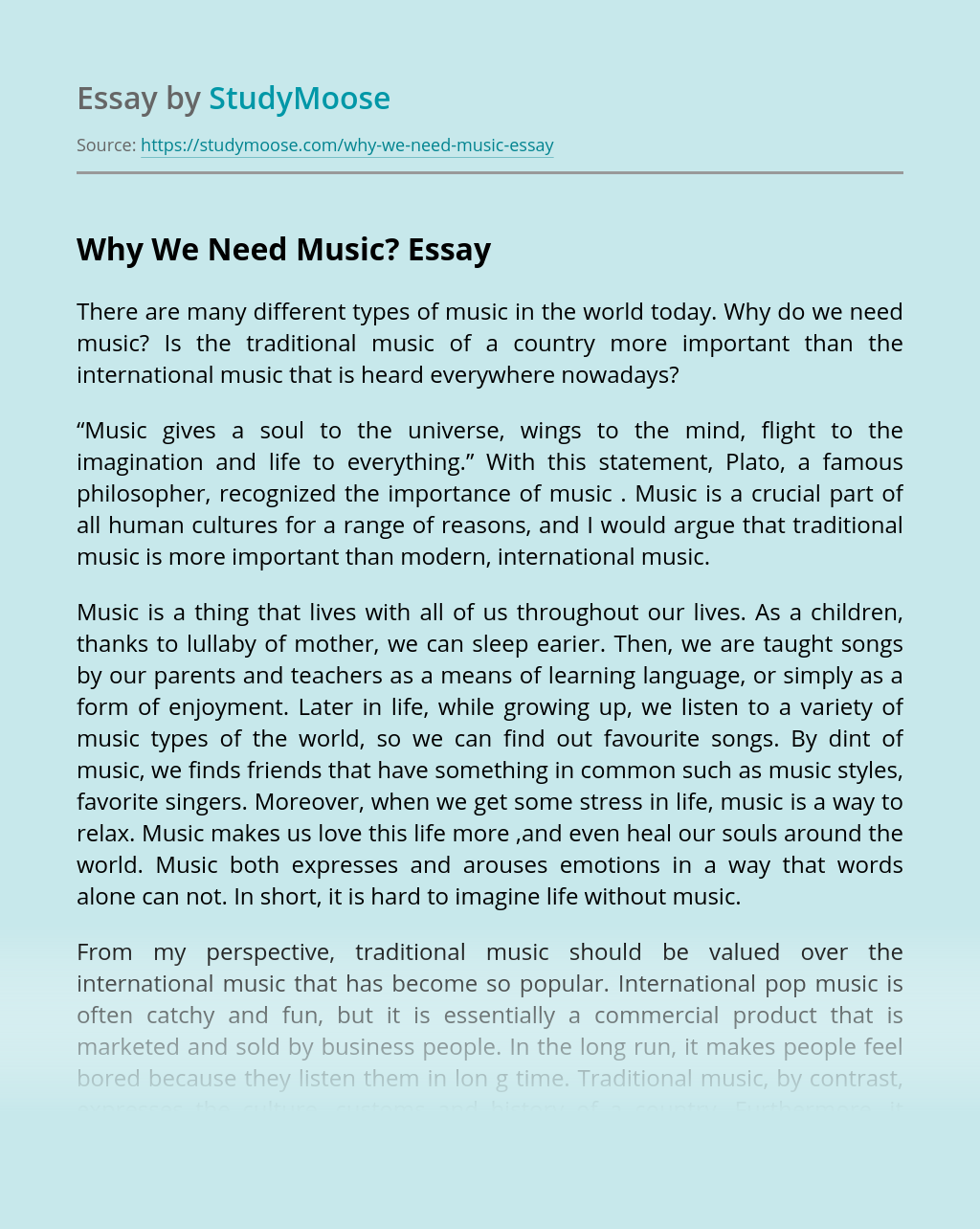 Why We Need Music?