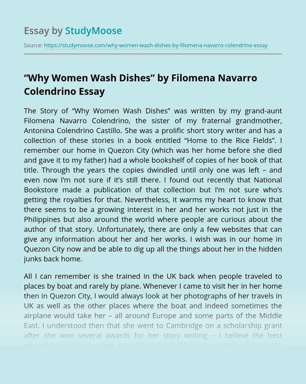 """Why Women Wash Dishes"" by Filomena Navarro Colendrino"