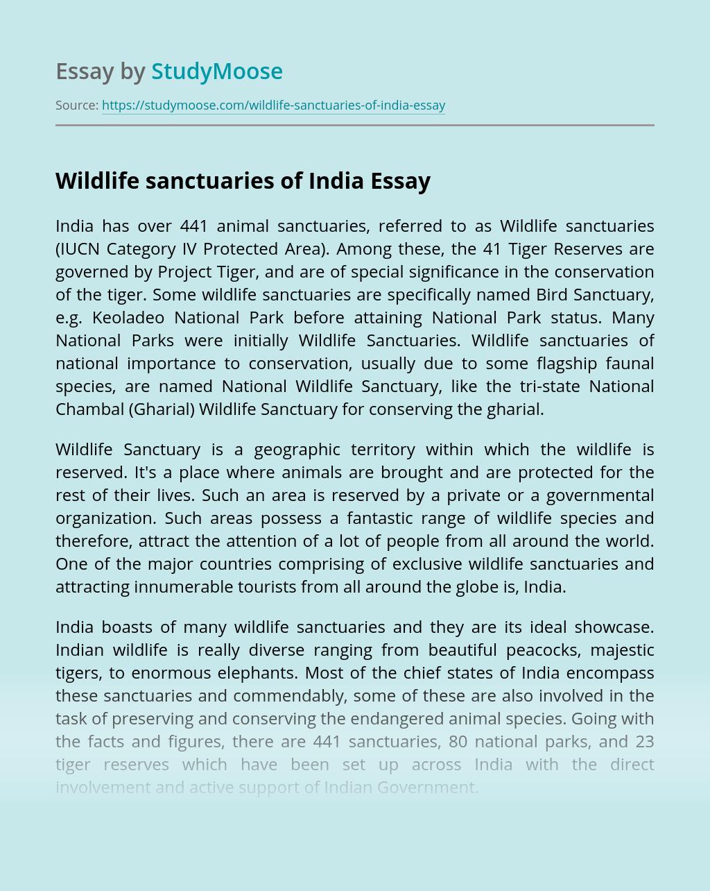 Wildlife sanctuaries of India