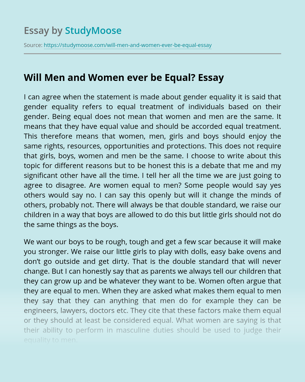 Will Men and Women ever be Equal?