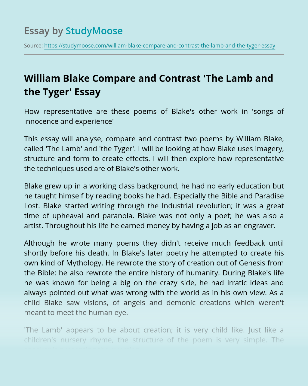 William Blake Compare and Contrast 'The Lamb and the Tyger'