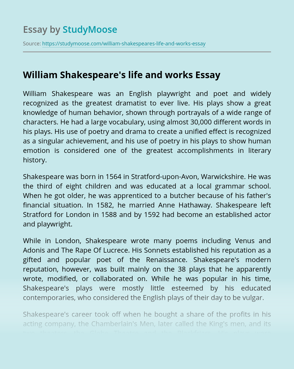 William Shakespeare's life and works