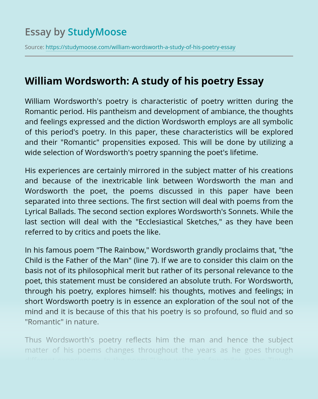 William Wordsworth: A study of his poetry