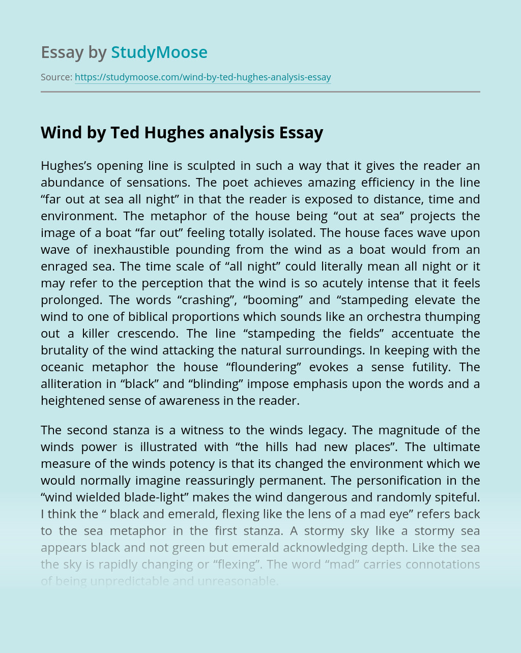 Wind by Ted Hughes analysis