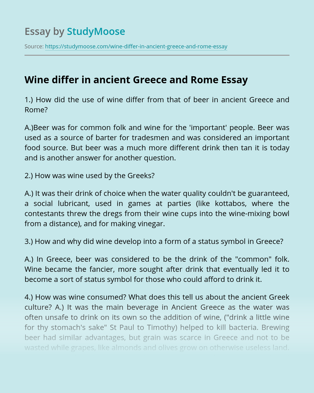 Wine differ in ancient Greece and Rome