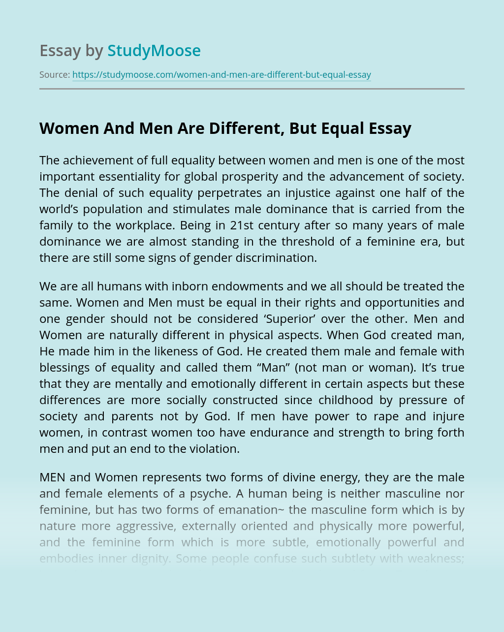 Women And Men Are Different, But Equal