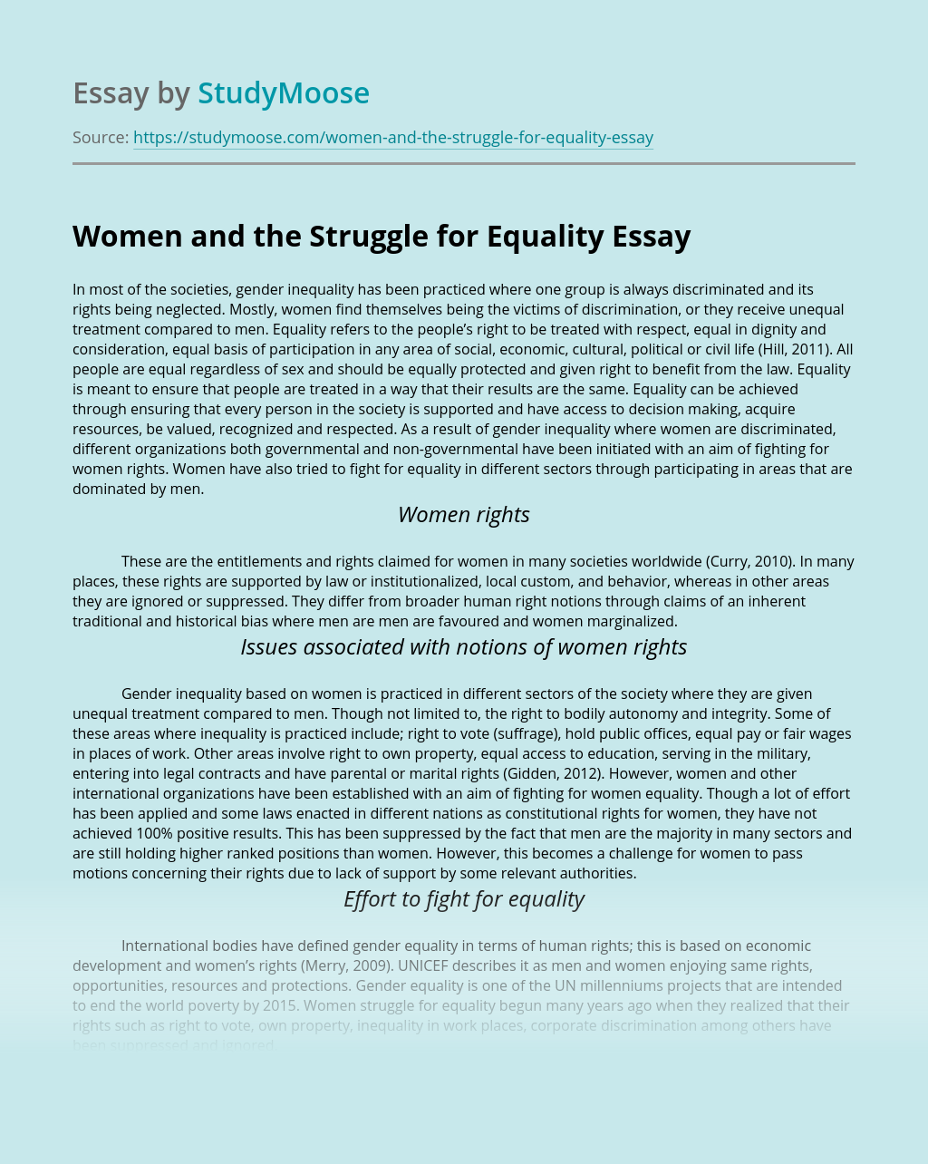 Women and the Struggle for Equality