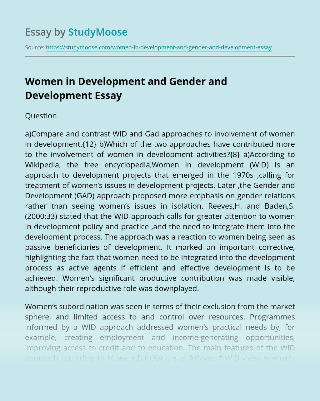 Women in Development and Gender and Development