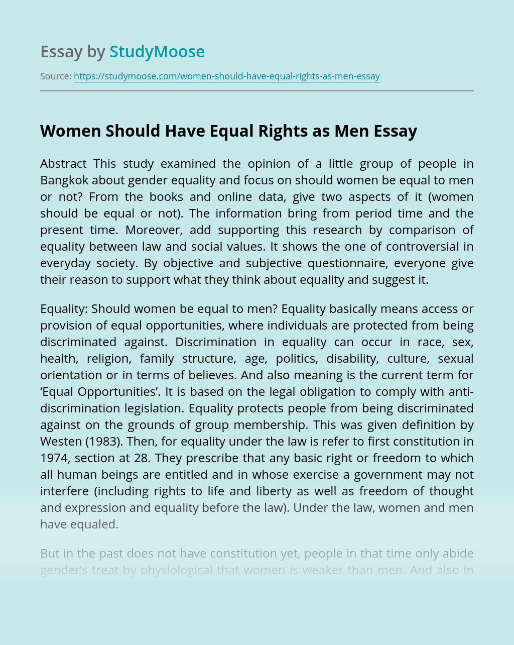 Women Should Have Equal Rights as Men