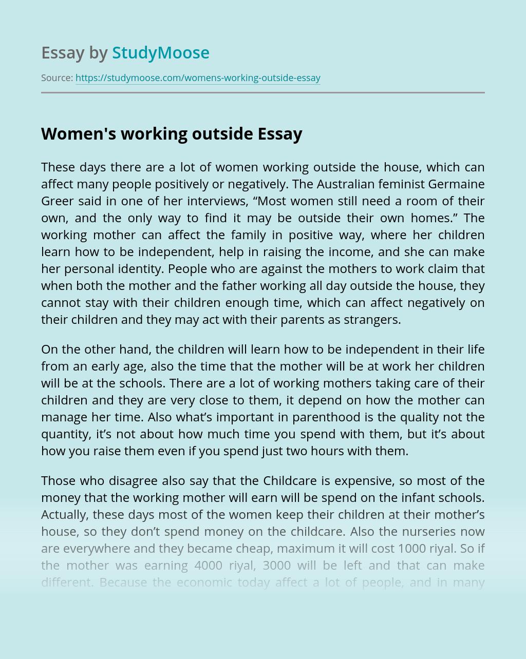 Women's working outside