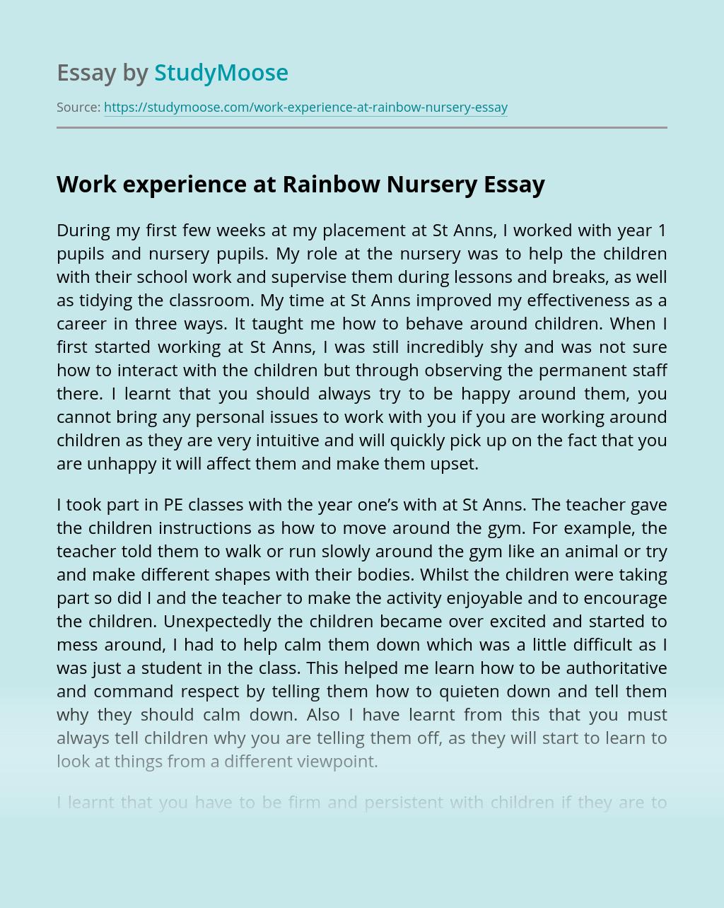 Work experience at Rainbow Nursery