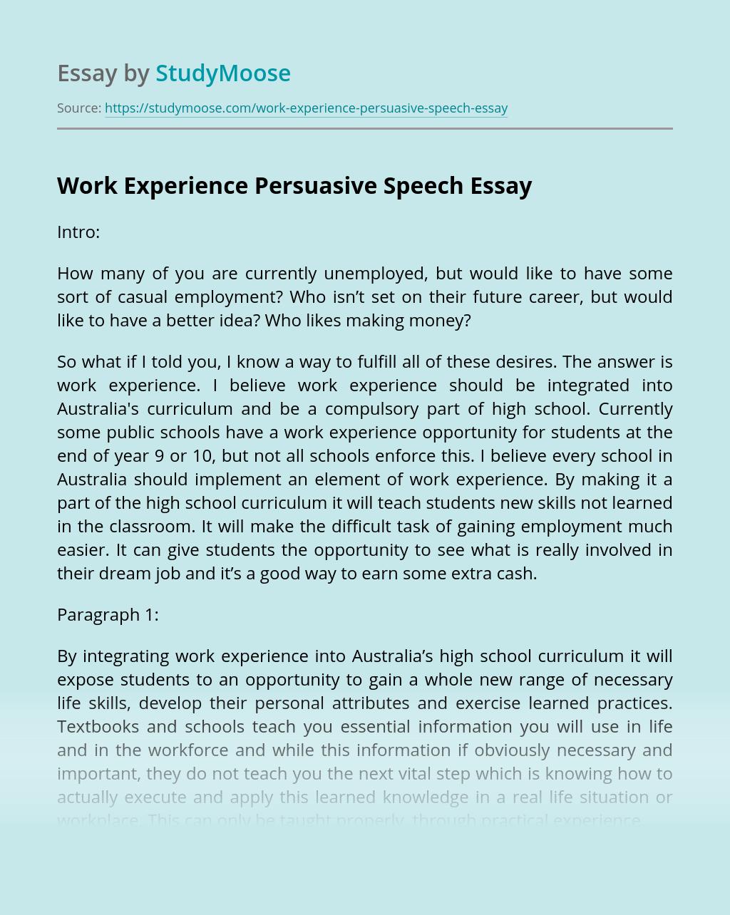 Work Experience Persuasive Speech