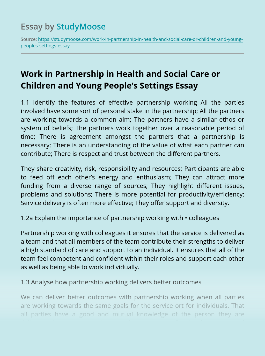 Work in Partnership in Health and Social Care or Children and Young People's Settings